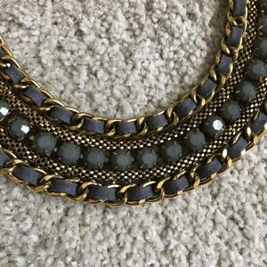 Gray and Gold Statement Collar Necklace